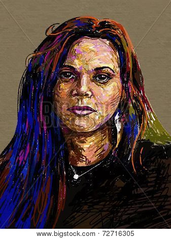 Original digital painting portrait of women