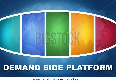 Demand Side Platform text illustration concept on blue background with colorful world map poster