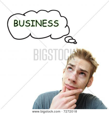 Young Man Thinks Business