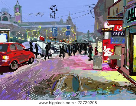 digital art painting of evening winter city landscape, vector ve