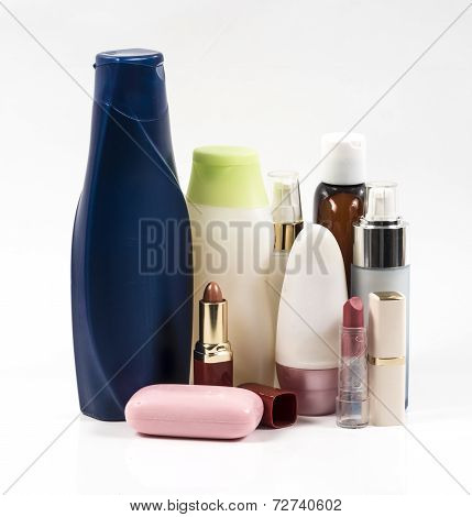 Shampoo Bottles And Lipstik