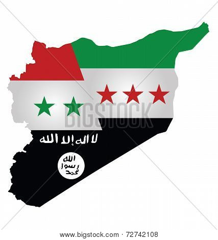 Map of Syria showing the three warring factions dividing the county translation on flag reads there is no God but God Mohammed is his messenger poster