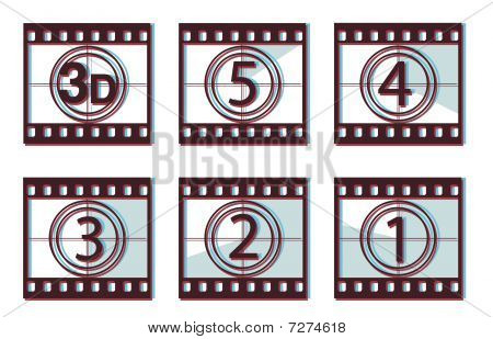 Film countdown with 3d effect