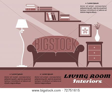 Living room interior in flat style