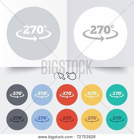 Angle 270 degrees sign icon. Geometry math symbol. Round 12 circle buttons. Shadow. Hand cursor pointer. Vector poster