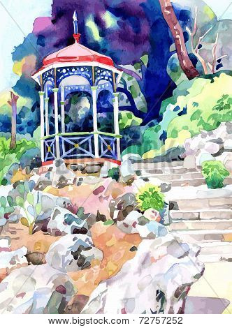 watercolor painting on paper of arbour in Nikita botanical garde