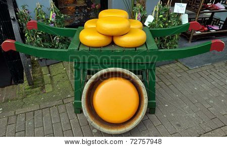 Dutch Cheese On Wooden Barrow