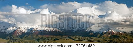 Panoramic view of Lenin Peak from Alay range - Kyrgyz Pamir Mountains - Kyrgyzstan and Tajikistan border- Central Asia - Roof of the World poster
