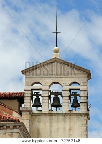 Bell Tower With Three Bell In A Ancient Church In Venice In Italy