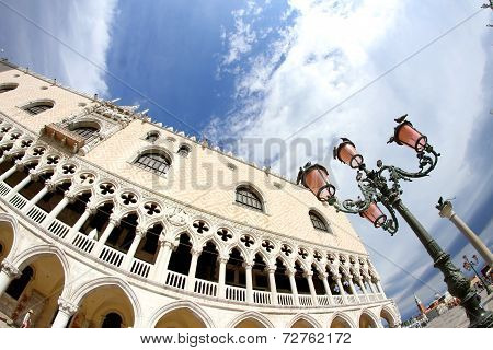 Ducal Palace In Venetian-style Architecture In Venice