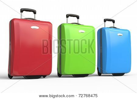 Red, green and blue polycarbonate travel baggage