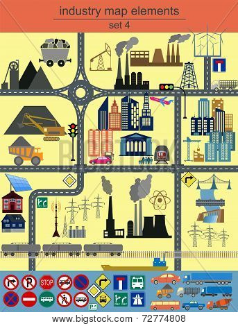 Industry map elements. Vector illustration