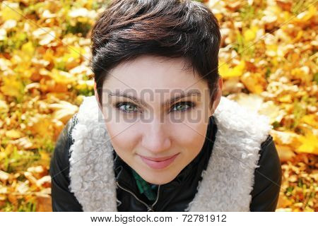 Pretty Young Woman In Autumn