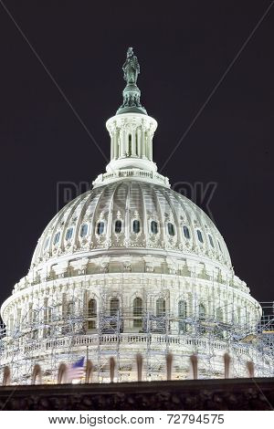 Us Capitol North Side Dome Construction Close Up Flag Night Stars Washington Dc