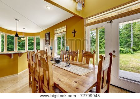 Beautiful Dining Table With Chairs In Farm House