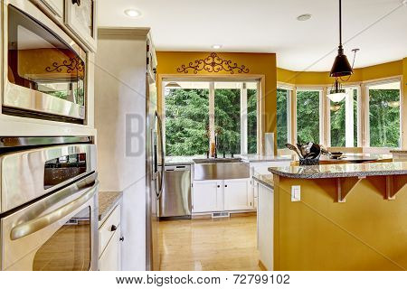 Farm House Interior. Kitchen Room In Bright Yellow Color.