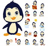 Penguin mascot in different positions. Fully layered for easy editing. You can use it at your website, business cards, greeting cards and more. poster