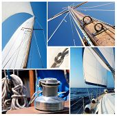 Collage of sailing boat stuff - winch ropes yacht in the sea,knot,sails,mast poster