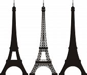 Eiffel Tower silhouette on white background, vector EPS 8 poster