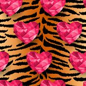 Chic vector seamless patterns tiling.  Animal print, tiger texture. Polygonal hearts. poster