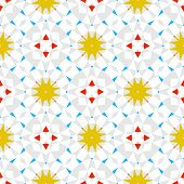 Abstract geometric texture in art deco style with gold stars,and colorful shapes for Christmas and holiday decor or wedding invitation background. Seamless vector pattern for winter fashion poster