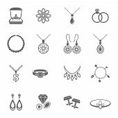 Jewelry black icons set of luxury jewels and precious gifts isolated vector illustration poster