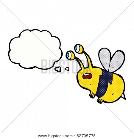 cartoon frightened bee with thought bubble poster