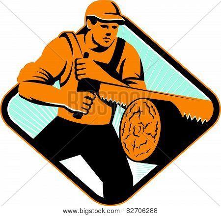 Lumberjack Logger Crosscut Saw Retro