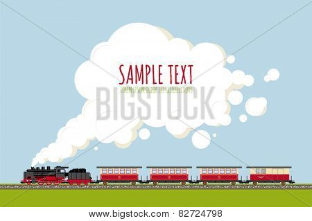 Steam Train in Landscape with copy space template. Historic locomotive and wagons on railroad track, copy space in steam, flat design, no gradients or transparencies. Sample text on separate layer.