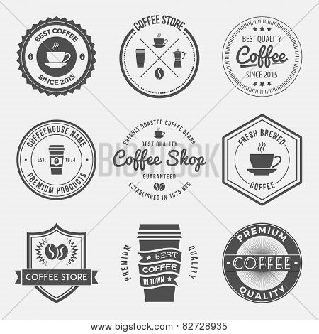 vector set of vintage retro coffee shop logos badges and labels. logotype design elements