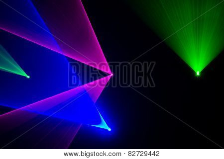 Green, Red And Blue Laser Beams