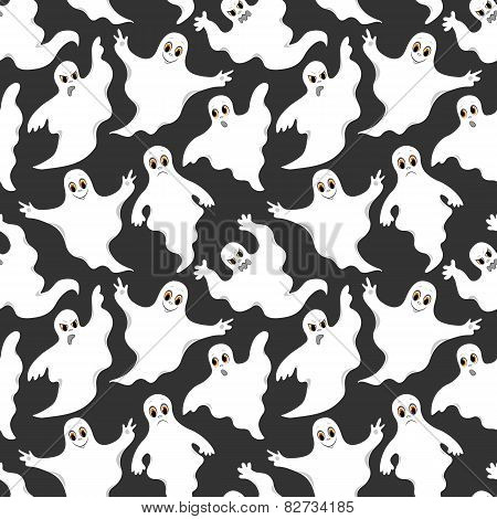Seamless Gray Pattern With Cute Ghosts