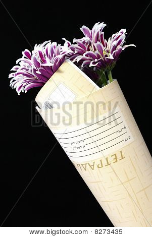 Convolute Notebook And Flowers