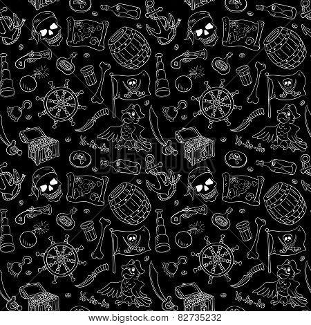 Pirate Seamless Pattern White On Black