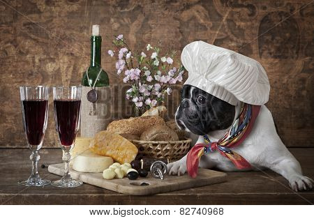 French Bulldog In Chef's Hat