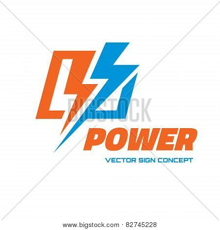 Power - vector logo concept illustration. Lightning logo. Electricity logo. Vector logo template.