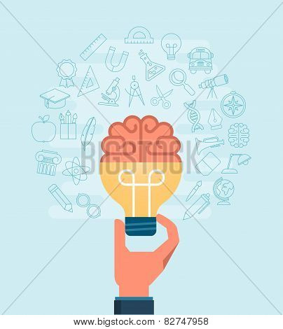 Hand Holiding Light Bulb With A Brain Surrounded With Set Of Thin Line Icons