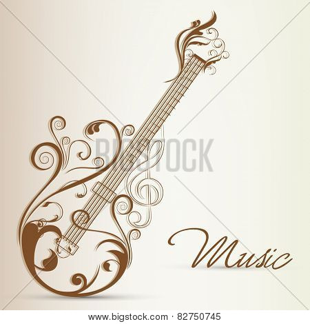 Floral decorated guitar with stylish text of Music on stylish background.