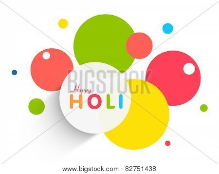 Colorful sticker, tag or label design on white background for Indian festival of colors, Happy Holi celebration.