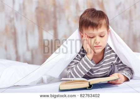Portrait of a cute little boy under the blanket