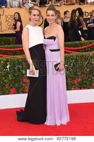 LOS ANGELES - JAN 25:  Sarah Paulson & Amanda Peet arrives to the 21st Annual Screen Actors Guild Awards  on January 25, 2015 in Los Angeles, CA