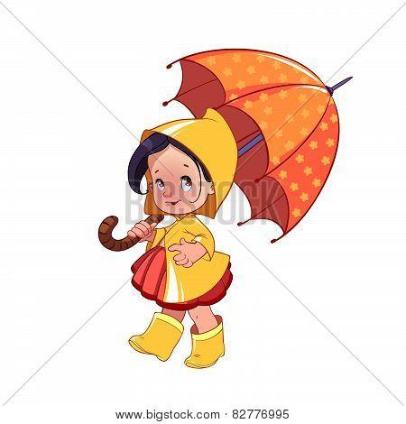 Cute Little Girl With Umbrella
