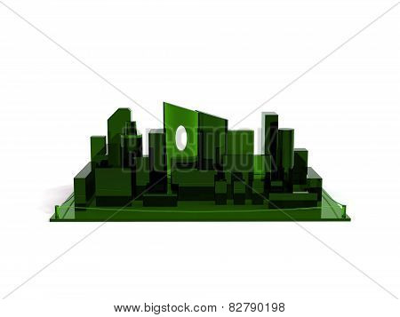 Architectural 3D model miniature downtown perspective