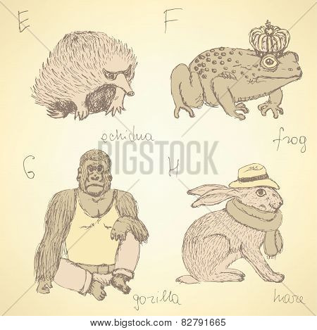 Sketch Fancy Animals Alphabet In Vintage Style