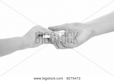 Young Woman And Children Girl Handshake Black And White Isolated