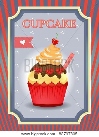 Card - blue, red - Cupcake with bows and cherry on dotted background