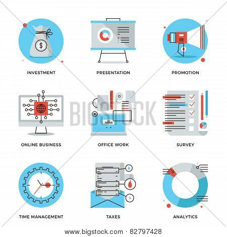 Corporate Management Elements Line Icons Set