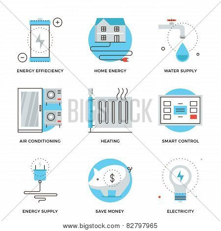 Home Energy Efficiency Line Icons Set
