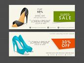 Header for super sale of ladies footwear with name, off percentage and contact details. poster