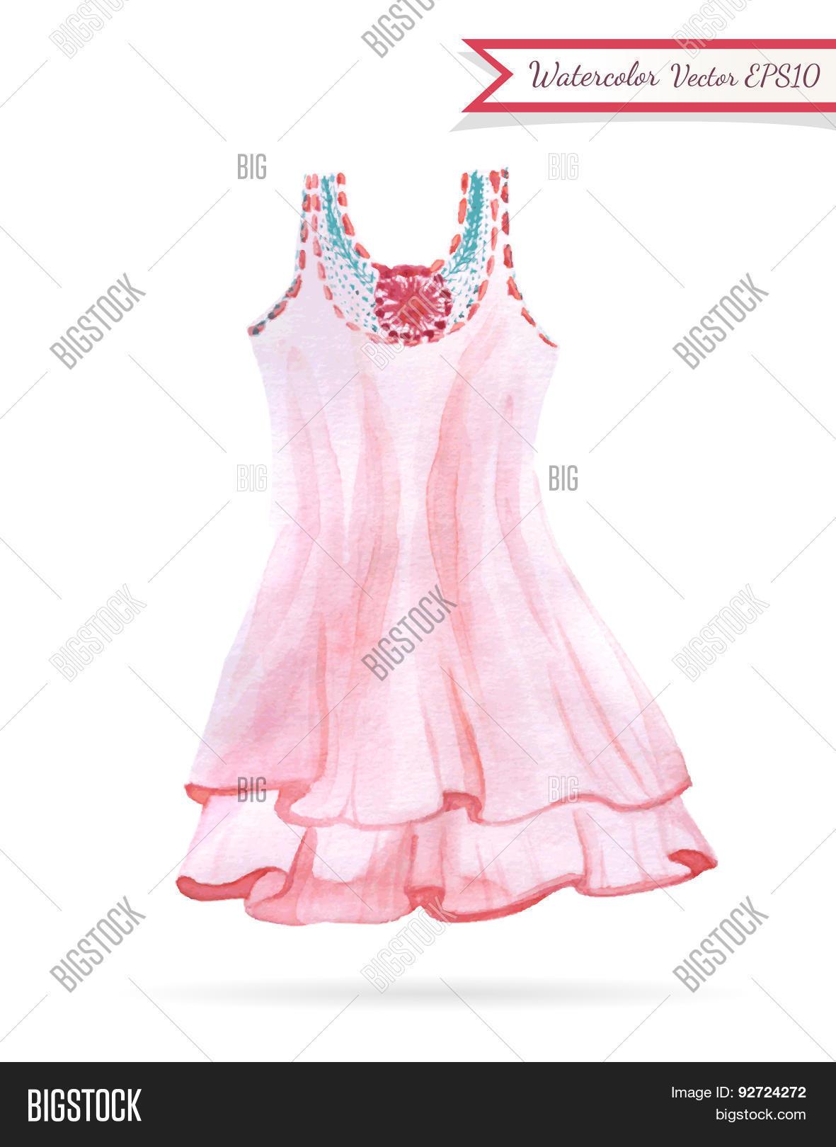 a457f6189e98 Pink Dress Watercolor Vector & Photo (Free Trial) | Bigstock